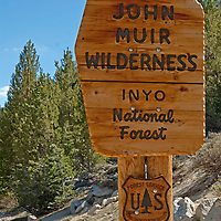 A Forest Service sign marks the wilderness boundary in Rock Creek Canyon, Sierra Nevada, California.