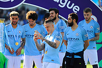 BRIGHTON, ENGLAND - MAY 12:  Ederson Moraes (31) of Manchester City taking pictures on his phone during the trophy presentation during the Premier League match between Brighton & Hove Albion and Manchester City at American Express Community Stadium on May 12, 2019 in Brighton, United Kingdom. (MB Media)