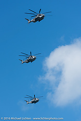 Helicopters fly in formation over the beach during the Daytona Bike Week 75th Anniversary event. FL, USA. Monday March 7, 2016.  Photography ©2016 Michael Lichter.