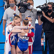 TOKYO, JAPAN - JULY 27: The ROC team celebrate their victory during the Team final for Women at Ariake Gymnastics Centre during the Tokyo 2020 Summer Olympic Games on July 27, 2021 in Tokyo, Japan. (Photo by Tim Clayton/Corbis via Getty Images)