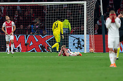 08-05-2019 NED: Semi Final Champions League AFC Ajax - Tottenham Hotspur, Amsterdam<br /> After a dramatic ending, Ajax has not been able to reach the final of the Champions League. In the final second Tottenham Hotspur scored 3-2 / Lisandro Magallan #16 of Ajax, Andre Onana #24 of Ajax, Frenkie de Jong #21 of Ajax