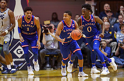 Jan 19, 2019; Morgantown, WV, USA; Kansas Jayhawks guard Charlie Moore (2) steals the ball during the first half against the West Virginia Mountaineers at WVU Coliseum. Mandatory Credit: Ben Queen-USA TODAY Sports