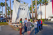 """Marcus Eriksen talks to students in front of the """"Junk"""" raft at the Plastics are Forever Youth Summit - March 11, 2011. The Summit brought over 130 students and teachers from around the world to work together to find solutions to plastic pollution and toxicity. Hotel Maya, Long Beach, California"""