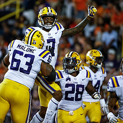 Sep 23, 2017; Baton Rouge, LA, USA; LSU Tigers wide receiver D.J. Chark (7) celebrates with teammates after a touchdown run against the Syracuse Orange during the fourth quarter of a game at Tiger Stadium. LSU defeated Syracuse 35-26. Mandatory Credit: Derick E. Hingle-USA TODAY Sports