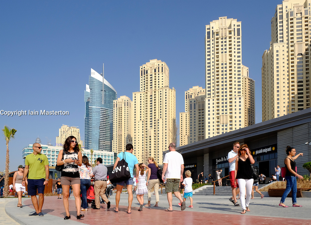 New pedestrian shopping and dining promenade beside beach called The Beach, off The Walk, at Jumeirah Beach Residences (JBR) in Dubai United Arab Emirates