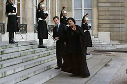 Libyan leader Moammar Gadhafi shakes hands with President Nicolas Sarkozy at the Elysee Palace in Paris, France on December 12, 2007. Gadhafi is on a 5-Day Visit to France for a high-profile visit set to usher in multi-billion-euro nuclear and aviation contracts. Photo by ABACAPRESS.COM