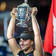 2019 US Open Tennis Tournament- Day Thirteen.    Bianca Andreescu of Canada with the winners trophy after her victory against Serena Williams of the United States in the Women's Singles Final on Arthur Ashe Stadium during the 2019 US Open Tennis Tournament at the USTA Billie Jean King National Tennis Center on September 7th, 2019 in Flushing, Queens, New York City.  (Photo by Tim Clayton/Corbis via Getty Images)