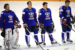 Gaber Glavic, Jurij Golicic, Jakob Milovanovic, Damjan Dervaric sad after ice-hockey game Slovenia vs Slovakia at second game in  Relegation  Round (group G) of IIHF WC 2008 in Halifax, on May 10, 2008 in Metro Center, Halifax, Nova Scotia, Canada. Slovakia won after penalty shots 4:3.  (Photo by Vid Ponikvar / Sportal Images)