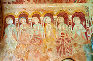 Romanesque fresco of the Apostles in the altar vault of the Norman Church of St Mary's Kempley Gloucestershire, England, Europe