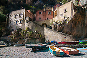 A view of the Fiordo of Furore in the village of Furore, Italy. Furore, located on the Amalfi coast, expands from sea level, where there is the hamlet of Fiordo di Furore, and a little civil parish partly belonging to Praiano named Marina di Praia, up to Agerola (550 meters above sea level).