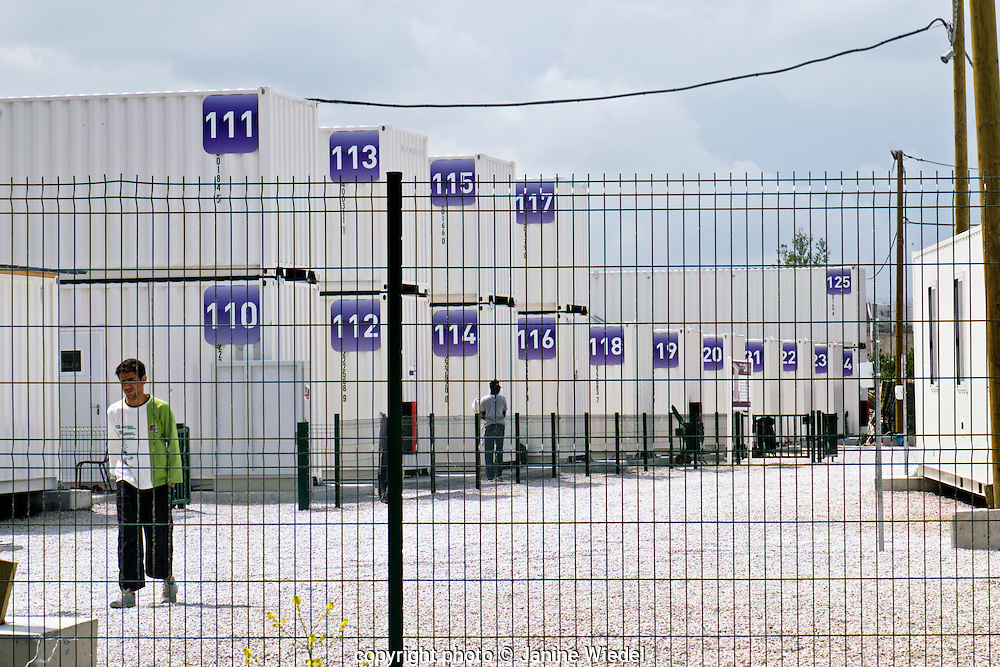 Newly coverted shipping containers accommodating refugees and migrants at The Calais Jungle Camp in France