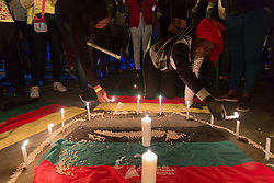 April 30, 2019 - Bogota, Colombia - Different communities and indigenous groups from all over the country gather in Bolivar square to light a candle for the community leaders. At least 30 community leaders were killed since the beginning of the year. (Credit Image: © Francesco Molteni/ZUMA Wire)