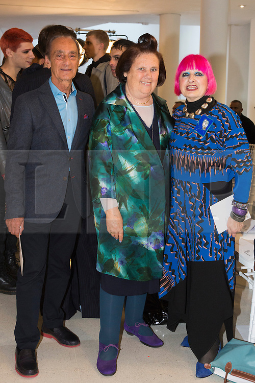 © Licensed to London News Pictures. 03/06/2015. London, UK. L-R: Fashion designer David Sassoon, Fashion Journalist Suzy Menkes and Designer Dame Zandra Rhodes before the Royal College of Art (RCA) MA Fashion graduate fashion show.  Photo credit : Bettina Strenske/LNP