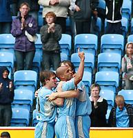 Photo: Mark Stephenson.<br /> Coventry City v Hull City. Coca Cola Championship. 18/08/2007.Coventry;'s Leon McKenzie celebrates his goal (C)