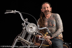 """Oliver Peck's """"Ducky Bobber"""", a 1979 shovelhead built by Jeff Milburn. Photographed by Michael Lichter in Boulder, CO on July 18, 2016. ©2016 Michael Lichter."""