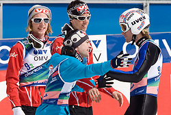 EVENSEN Johan Remen, BARDAL Anders, JACOBSEN Anders with ROMOEREN Bjoern Einar of second placed team of Norway celebrating during Flying Hill Team Second Round at 4th day of FIS Ski Flying World Championships Planica 2010, on March 21, 2010, Planica, Slovenia.  (Photo by Vid Ponikvar / Sportida)