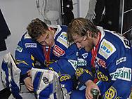 Der Davoser Torhueter Jonas Hiller und Sandro Rizzi © Pascal Gabriel