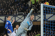 Ramiro Funes Mori (Everton) watches as his header beats Rob Elliot (Newcastle United) but hits the bar during the Barclays Premier League match between Everton and Newcastle United at Goodison Park, Liverpool, England on 3 February 2016. Photo by Mark P Doherty.
