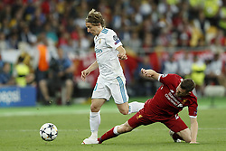 (L-R) Luka Modric of Real Madrid, James Milner of Liverpool FC during the UEFA Champions League final between Real Madrid and Liverpool on May 26, 2018 at NSC Olimpiyskiy Stadium in Kyiv, Ukraine