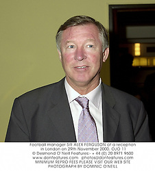 Football manager SIR ALEX FERGUSON at a reception in London on 29th November 2000.	OJO 11