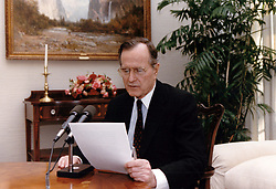 United States President George H.W. Bush delivers an address to the nation by radio from the White House in Washington, DC on January 5, 1991. Photo by Carol T. Powers / White House via CNP/ABACAPRESS.COM