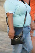 side view of an muscular obese woman