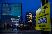 An image of Florence Nightingale is projected onto St Thomas' Hospital as it is both International Nurses Day an teh anniversary of her birth 200 years ago today. The message is also one of support for current day nurses as the 'lockdown' continues for the Coronavirus (Covid 19) outbreak in London.
