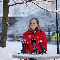 Ask 20210102. <br /> Regionleder i NVE Toril Hofshagen under en presseoppdatering lørdag ved Ask i Gjerdrum. Flere boliger er tatt av jordskredet ni personer er savnet. Over 1000 personer i området er evakuert.<br /> Foto: Tor Erik Schrøder / NTB