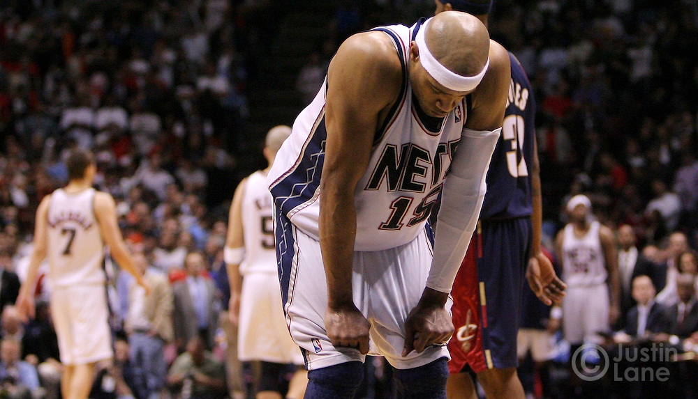 The Nets' Vince Carter tries to compose himself during the fourth quarter of game 4 of the Eastern conference semifinals between the Cleveland Cavaliers and the New Jersey Nets at Continental Airlines Arena in East Rutherford, New Jersey on 14 May 2007. The Cavaliers won 87-85 and lead the series 3-1.