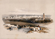 The town of Ramla, possibly the site of ancient Arimathea. Coloured lithograph by Louis Haghe after David Roberts, 1843.