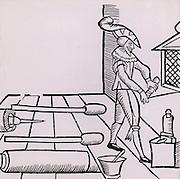 A Pyrotechnist, Artificer or Firework-maker preparing a rocket. Woodcut from 'Recreations mathematiques' by Jean Leurechon (Rouen, 1628).