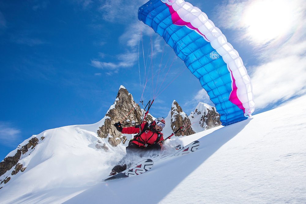 Filippo Fabbi speed rides while filming for the Unrideables in the Tordrillo Mountains near Anchorage, Alaska on April 27th, 2014.