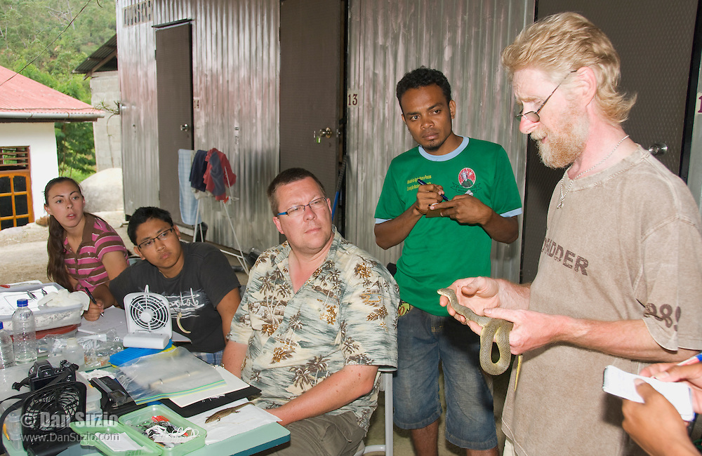 British herpetologist Mark O'Shea, holding a dog-faced water snake, Cerberus rynchops, speaks to American and Timorese students at their makeshift research station at Bakhita Mission, Near Eraulo, Ermera District, Timor-Leste (East Timor). Left to right: Caitlin Sanchez, Jester Ceballos, Professor Hinrich Kaiser, Luis Lemos, Mark O'Shea