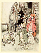 The Hare and the Tortoise - Frontispiece Aesop's fables Published in 1912 in London by Heinemann and in  New York by Page Doubleday Illustrated by Arthur Rackham,