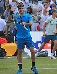 STUTTGART, June 16, 2018  Roger Federer of Switzerland celebrates after winning the quarterfinal of ATP Mercedes Cup tennis tournament against Guido Pella of Argentina in Stuttgart, Germany on June 15, 2018. Roger Federer won 2-0. (Credit Image: © Philippe Ruiz/Xinhua via ZUMA Wire)