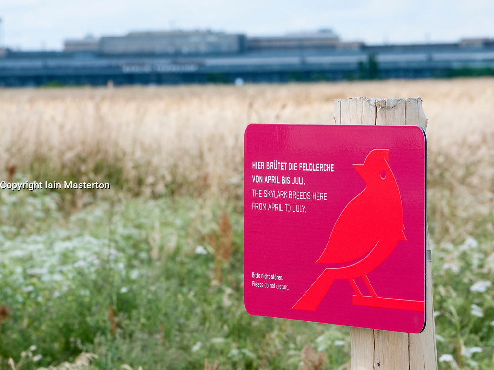 Sign warning of breeding Skylark birds at Tempelhofer Park , former Tempelhof Airport in Berlin Germany