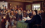 A Sunday Reading in a Village School', 1895. Nikolai Petrovich Bogdanov-Belsky  (1868-1945) Russian painter. Russia Peasant Men Women Children Soldier  Reader Audience Clock Map Heating Stove Portrait  Nicholas II