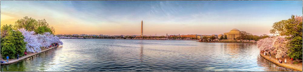 Cherry Blossoms Tidal Basin Washington DC<br /> Washington Monument  Jefferson Memorial