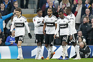 GOAL 1-0 Fulham defender Denis Odoi (4) scores celebrates with teammates during The FA Cup 3rd round match between Fulham and Oldham Athletic at Craven Cottage, London, England on 6 January 2019.