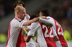 17-09-2015 NED: UEFA Europa League AFC Ajax - Celtic FC, Amsterdam<br /> Ajax heeft in zijn eerste duel in de Europa League thuis moeizaam met 2-2 gelijkgespeeld tegen Celtic / Lasse Schone #20 scoort de 2-2, Mitchell Dijks #35, Jairo Riedewald #22, Davy Klaassen #10