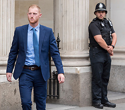 © Licensed to London News Pictures. 13/08/2018. Bristol, UK. BEN STOKES and his wife CLARE RATCLIFFE leave Bristol Crown court at lunchtime today at the start of the second week of his trial on charges of affray that relate to a fight outside a Bristol nightclub on September 25 2017. England cricketer Ben Stokes and Ryan Ali, 28 deny the charge. Stokes and Ali are charged with affray in the Clifton Triangle area of Bristol on September 25 last year, several hours after England had played a one-day international against the West Indies in the city. Ali allegedly suffered a fractured eye socket in the incident. Photo credit: Simon Chapman/LNP