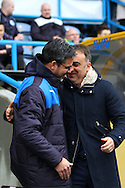 Huddersfield Town Manager David Wagner (l) and Sheffield Wednesday Manager Carlos Carvalhal share a joke prior to kick off. Skybet football league Championship match, Huddersfield Town v Sheffield Wednesday at the John Smith's Stadium in Huddersfield, Yorkshire on Saturday 2nd April 2016.<br /> pic by Chris Stading, Andrew Orchard sports photography.