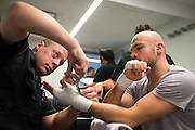 Cathal Pendred has his hands wrapped before his fight against Augusto Montano during UFC 188 at the Mexico City Arena in Mexico City, Mexico on June 13, 2015. (Cooper Neill)