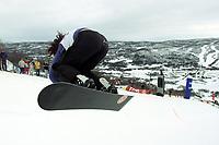 Snowboard, NM snøbrett halfpipe Geilo mars 2000. Stine Brun Kjeldaas, illustrasjonsbilde.