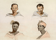 Four Hottentot Portraits from Naturhand colored plate from the collection of  ' African scenery and animals ' by Daniell, Samuel, 1775-1811 and Daniell, William, 1769-1837 published 1804