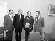 3 March 1983<br /> <br /> Taoiseach Garrett FitzGerald meets FUE.