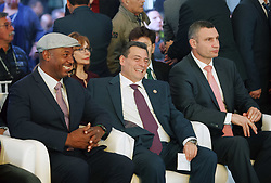 October 1, 2018 - Kiev, Ukraine - Former Boxing Champion LENNOX LEWIS (L), President of the World Boxing Council (WBC) MAURICIO SULAIMAN (C) and former heavyweight boxing champion and current Mayor of Kiev VITALI KLITSCHKO (R) take part at the opening of the 56th World Boxing Convention in Kiev, Ukraine, on 1 October 2018. The WBC 56th congress in which take part boxing legends Evander Holyfield,Lennox Lewis, Eric Morales and about 700 participants from 160 countries runs in Kiev from from September 30 to October 5. (Credit Image: © Serg Glovny/ZUMA Wire)