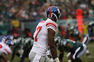 PHILADELPHIA - DECEMBER 9: Plaxico Burress #17 of the New York Giants looks to his line before a play during the game against the Philadelphia Eagles on December 9, 2007 at Lincoln Financial Field in Philadelphia, Pennsylvania. The Giants won 16-13.