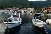 View of harbour, village of Racisce, island of  Korcula, Croatia