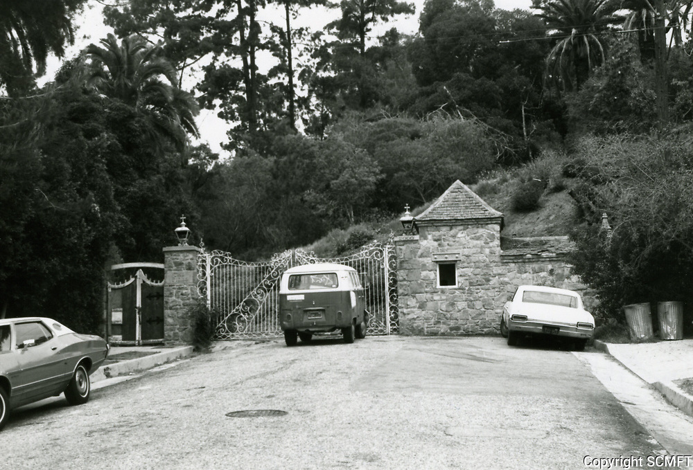 """1973 Entrance gates to Huntington's, """"The Pines"""", in Runyon Canyon."""